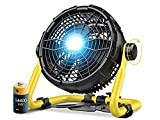 Outdoor Floor Fan with Light, 14400mAh 12-Inch Large Battery Operated Powered Fan, Portable Rechargeable Fan, Cordless High Velocity Industrial Fan, for Garage, Gym, Camping, Travel, Office