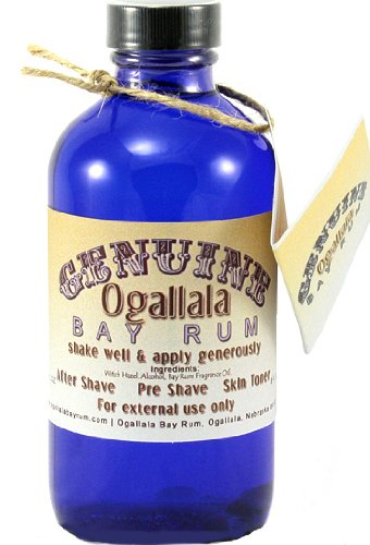 8 oz Genuine Ogallala Bay Rum Regular. Old-time looking bottle and label.