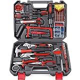 Arrinew Kit d'outils 108 pièces Kit d'outils à main de ménage général bricolage avec étui de rangement de boîte à outils en plastique pour la...