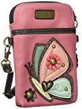 Chala Crossbody Cell Phone Purse - Women PU Leather Multicolor Handbag with Adjustable Strap - Butterfly - Guava Pink