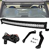 30' 180W Curved LED Light Bar Spot/Flood Combo Beam w/Wiring Kit & Below Roof Mounting...