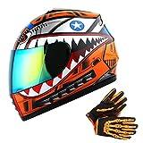 WOW Youth Motorcycle Full Face Helmet Street Bike BMX MX Kids Shark Orange Size Medium + MX Skeleton Glove Bundle