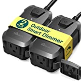 Smart Dimmer Plug Treatlife 2 Pack Outdoor Dimmer Works with Alexa and Google Assistant, WiFi Outlet Remote Control, No Hub Required, IP44 Waterproof for Dimmable String Lights, Max Power 400W
