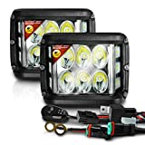 OPT7 Side Shooter 96W Weatherproof LED Pods Side Winder - 9000 Lms Spot/Flood - 180° Wide Angle Off Road Lighting Cubes, Compatible for Jeep Silverado Ram F150 ATV UTV Motorcycles, 2Pc