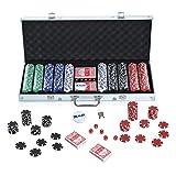 Malette Professionnelle de Poker 500 jetons 2 Jeux de Cartes 5 dés...