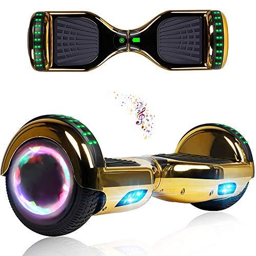 Wind Way Hoverboard Bluetooth - 6,5' Balance Board Adulte Tout Terrain Over Board - LED Skateboard Électrique - Enfant Super Cadeau Pas Cher - SmartBoard - Or Chromé