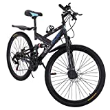 26 Inch Bike High Carbon Steel Mountain Bikes 21 Speed Bicycle Full Suspension MTB for Men/Women (Black)