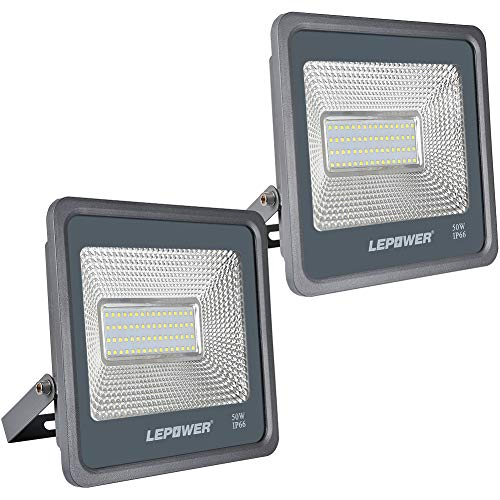 LEPOWER 50W LED Flood Light Outdoor, 5000lm Super Bright Work Light with Plug, 6000K White Light, IP66 Waterproof Outdoor LED Lights for Yard, Garden, Playground, Party (2 Pack)