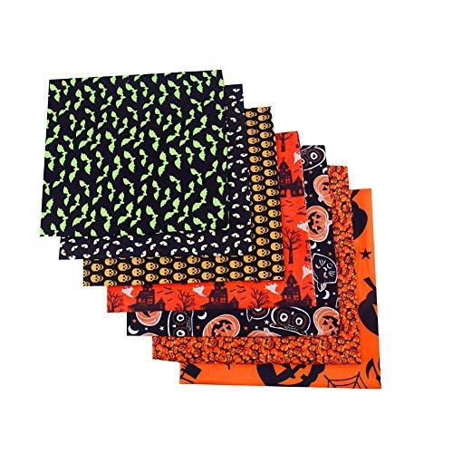 Hearthrousy 8 Stück Baumwollstoff Patchwork Stoffreste Stoffpaket Halloween Kürbis Muster DIY Baumwollstoff Baumwolltuch Patchwork für Bettwäsche, Vorhänge, Tischdecken handge