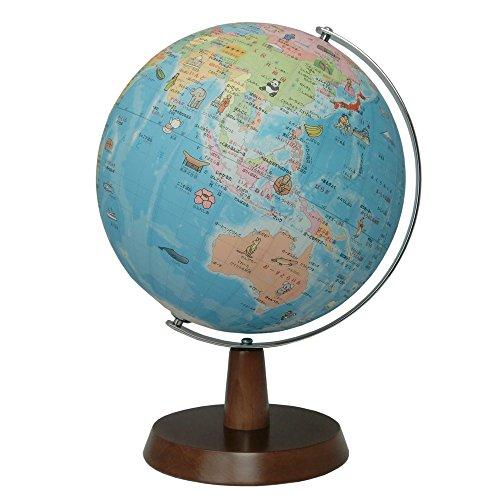 昭和カートン 地球儀 球径26cm 26-HAW 行政図 絵入りひらがなタイプ 木製台座