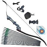 Tongtu 57' 60LBS Takedown Recurve Bogen und Pfeil Erwachsene Rechte Hand Bogenschießen Jagd für Outdoor mit Carbonpfeile Zielübungen