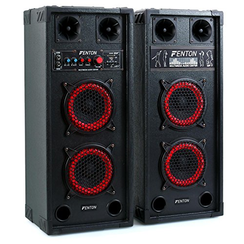 Fenton SPB-26 set set coppia casse attive amplificate attiva/passiva (600 Watt totali, Bluetooth, 2 x subwoofer da 15 CM, USB SD MP3, bass reflex, 2 x MIC IN) Bluetooth