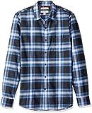 Marque Amazon - Goodthreads Chemise en flanelle brossée à manches longues pour homme Coupe ajustée, Bleu (navy blue plaid), US S (EU S)
