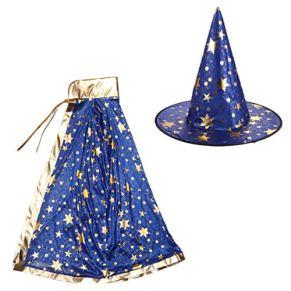 VALICLUD Disfraces de Halloween para Niños Capa de Mago de Bruja con Sombrero Mago para Niños Niñas Disfraz de Juego de…