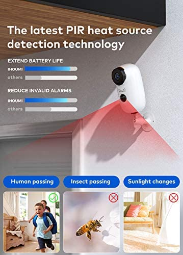 Security Camera Wireless Outdoor, IHOUMI WiFi Battery Indoor Camera, IP65 Waterproof, IP Cam with Two-Way Audio, Night Vision, Motion Detection(with Rechargeable Battery) 17