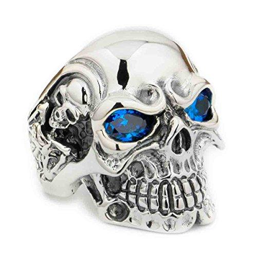 LINSION Gothic 925 Sterling Silver Skull Ring Polished CZ Blue Eyes Titan Mens Biker Punk Ring 8V305 (N 1/2) (Jewellery)