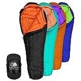 800 Fill Power Goose Down Sleeping Bag for Backpacking – Eolus 15/30 Degree F Ultralight, Down Filled 3 Season Men's and Women's Lightweight Mummy Bags (30 Degree - Black/Clementine, Regular)