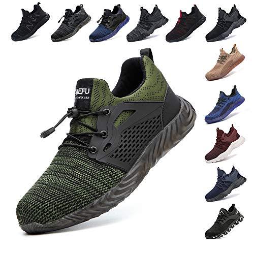 Zapatos De Seguridad para Hombre con Puntera De Acero Mujer Calzado De Trabajo Zapatos De Deportivos Transpirables Construcción Botas Trekking Negro Azul Gris Verde Rosa 36-48 EU Verde 43