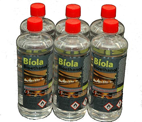 BIOETHANOL SUPERIOR 'BIOLA' FUEL 6 Liters UK and IRELAND. For use in fires and stoves. Premium Grade Bioethanol Fuel