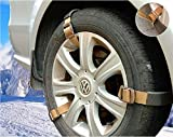 Fineget Easy Universal Emergency Snow Tire Chains HD Heavy Duty for SUV Truck Jeep Pickup Car Van ATV Ford GMC Honda Toyota Nissan VW Mercede Benz BMW Tyre Winter Traction Anti-Skid Durable Metal