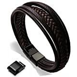 Bracelet Homme Cuir Véritable Bracelet et Acier Inoxydable Bracelet Cuir Bracelet pour Les Hommes (Marron,22.5)