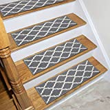 Ottomanson Glamour Collection Trellis Design Stair Tread, 8.5' x 26', Gray