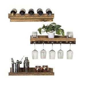 Del Hutson Designs Rustic Luxe Floating Wine Shelf & Glass Rack Set, Walnut