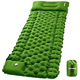 Inflatable Camping Sleeping Pad with Pillow, Camping Air Mat with Pump, Vecukty Upgraded Ultralight Durable Waterproof Compact Air Mattress Tent Backpacking Traveling Hiking Outdoor Trip