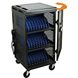30-Unit Heavy Duty Fully Assembled Charging Cart with Cord Management - Electric Keypad Lock & Automatic Flush Bolts - Fits Laptops & Tablets up to 14'' Screensize and 1.5'' Thick (Black)