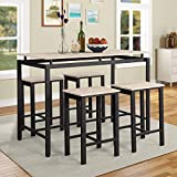 5Pcs Dining Table Set Modern Style Wooden Kitchen Table and 4 Chairs with Metal Legs, Beige