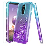 LG Stylo 4 Phone Case,LG Stylo 4 Case,LG Stylo 4 Plus Case,Fordesign with [Tempered Glass Screen Protector] Durable Cute Glitter Liquid Quicksand Waterfall Diamond Case for Girls Women-Teal/Purple