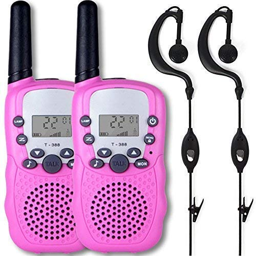 Afantti Walkie Talkies for Kids Girls Adults Two Way Radios Toddler Little Kids Birthday Gift Toy | 2+ Mile Long Range | Flashlight | 2 X Earpiece | 3 - 12 Year Old Age, Pink