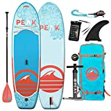 Peak Yoga & Fitness Inflatable Stand Up Paddle Board | 10' Long x 32' Wide x 6' Thick | Full Length Traction Pad | Durable and Lightweight | Stable Wide Stance | 275 lb Capacity | Coral