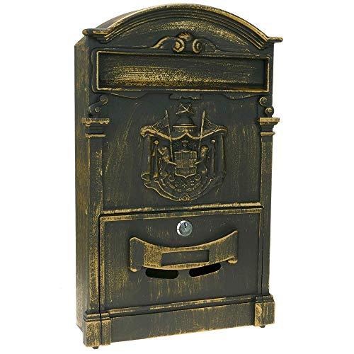PrimeMatik - Briefkasten Postkasten Retro Antik Vintage metallische Schwarze Oxid für wallmount