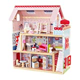 KidKraft Chelsea Doll Cottage Wooden Dollhouse with 16 Accessories, Working Shutters, for 5-Inch Dolls, Gift for Ages 3+ (Toy)