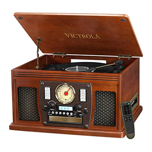 Victrola 8-in-1 Bluetooth Record Player & Multimedia Center,...