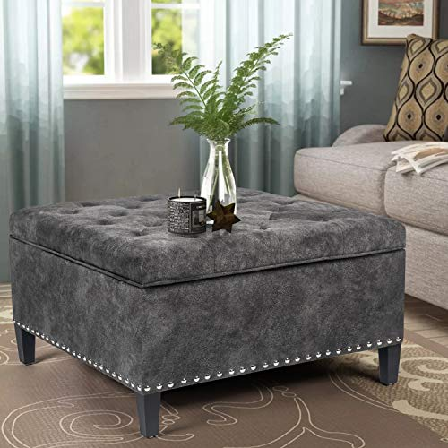 Joveco Storage Ottoman Square Bench for Living Room or Bedroom (Dark Gray)