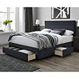 DG Casa Flynn Upholstered Panel Bed Frame with Storage Drawers and Horizontal Channel Headboard - Queen Size in Charcoal Fabric