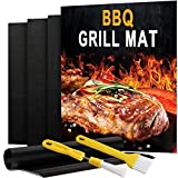 POLIGO Grill Mat Set of 4 - Non Stick BBQ Grill Mats and 2PCS Basting Brushes - BBQ Grill & Baking Mats, Heavy Duty, Reusable and Easy to Clean - Works on Electric Grill Gas Charcoal BBQ