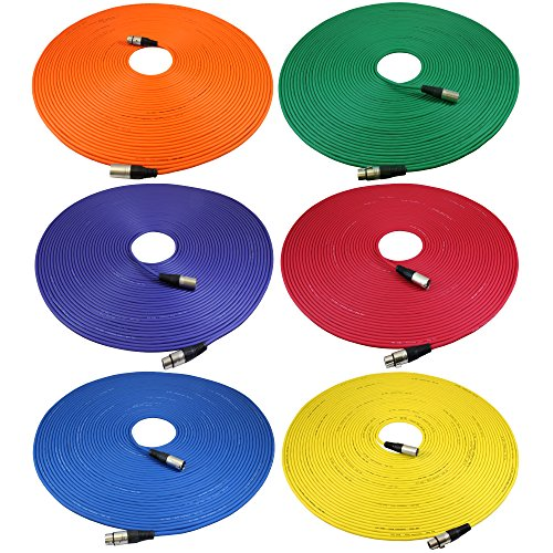 GLS Audio 100ft Mic Cable Cords - XLR Male to XLR Female Colored Cables - 100' Balanced Mike Cord - 6 Pack