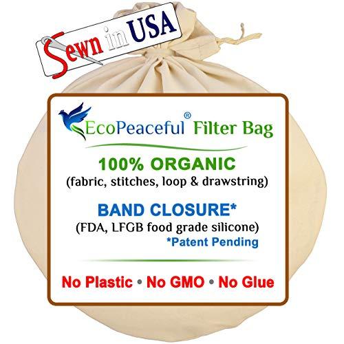 EcoPeaceful 12'x13' Organic Cotton Nut Milk Bag (ALL 100% Organic:...
