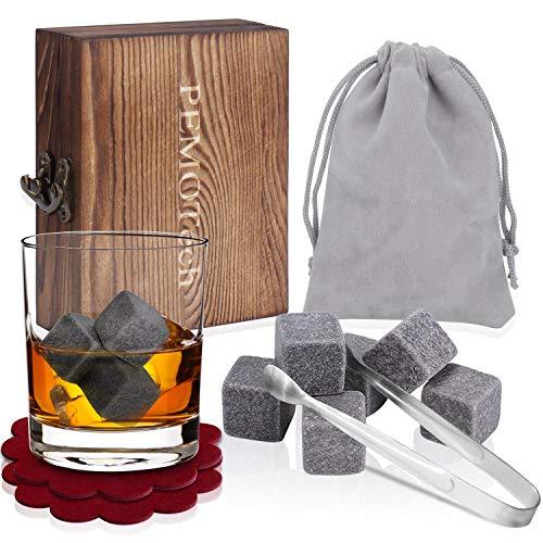 Piedras para Whisky (Set de 9), PEMOTech Set Regalo de Lujo de Piedras de Whisky [Caja de Madera Hecha a Mano, Bolso de Terciopelo, 2 Posavasos, Pinzas de Acero Inoxidable], Regalo para Papá/Marido