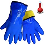 Frogwear 8490 Insulated & Waterproof Blue Tripple Dipped Work Gloves, Ultra Flexible, Chemical & Oil Resistant, Sizes M-XL (1 Pair) (Extra Large)