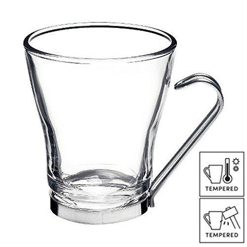 6 bicchieri da caffè e cappuccino con manici in acciaio inox, 22 cl