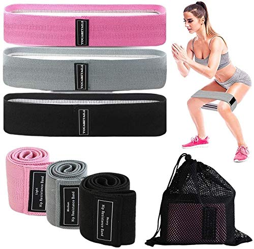 TOUARETAILS Fabric Resistance Loop Bands for Legs and Butt Set, Gym and Yoga Resistance Exercise Bands Workout Training Bands for Home Fitness, Crossfit, Elastic Strength Squat Band Beginner- 3PCS