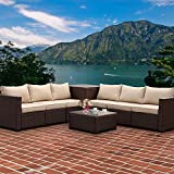 VALITA 6 Pieces Patio PE Wicker Furniture Set Outdoor Brown Rattan Sectional Conversation Sofa Chair with Storage Table and Beige Cushions
