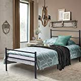 Voilamart Twin Metal Bed Frames with Storage, Single Bed with Headboard and Footboard, 6 Legs Bed Frame Platform No Box Spring Needed ,Twin Bed Frame Set for Kids (Balack)