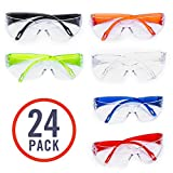 24 Pack of Kids Safety Glasses (24 Protective Goggles in 6 Different Colors) Crystal Clear Eye Protection - Specially Designed to Fit Children, Perfect for Nerf Parties