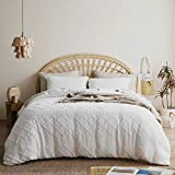Bedsure Tufted Duvet Cover Set - 3 Pieces Embroidery Shabby Chic Boho Duvet Cover Queen Size, Soft and Durable Bedding Set for All Seasons (White, Queen, 90x90'')