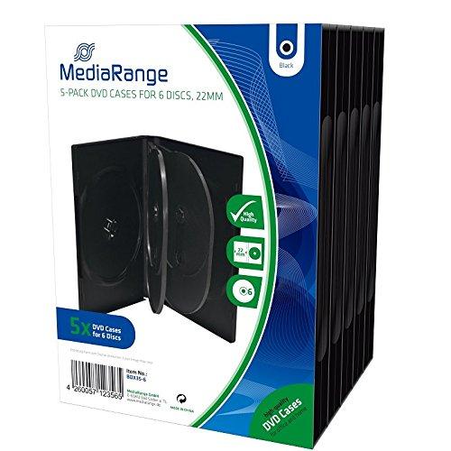 MediaRange BOX35-6 - Custodie per CD, DVD e Blu Ray da 6 posti con tasca trasparente per copertina, 22mm, Nero, confezione da 5
